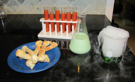 halloween lunch test tubes with blood soup, bread bones and molded milk