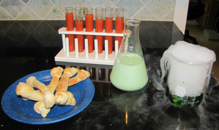 Halloween lunch blood soup bread bones and molded milk
